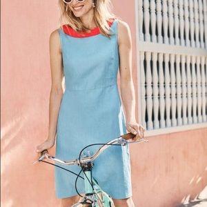 Boden Imelda Linen Collar Dress Heron Blue